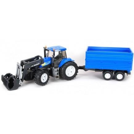 Трактор New Holland T8040 с погрузчиком и прицепом Bruder 01-993