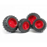 Шины для системы сдвоенных колёс с красными дисками Bruder 02-013...