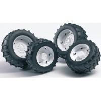 Шины для системы сдвоенных колёс с белыми дисками 4шт. Bruder 02-014...