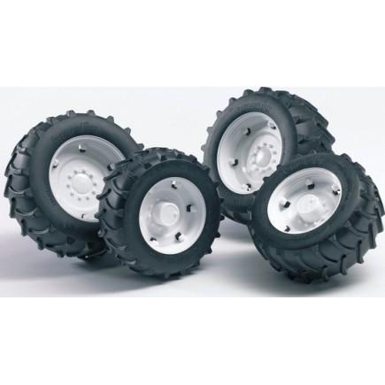 Шины для системы сдвоенных колёс с белыми дисками 4шт. Bruder (Брудер) (Арт. 02-014 02014) (Аксессуары A)