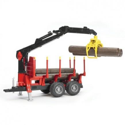 Прицеп для перевозки леса с манипулятором и брёвнами Bruder (Брудер) (Арт. 02-252)