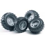 Аксессуары A: Шины для системы сдвоенных колёс с серебристыми дисками 4шт. Brude...