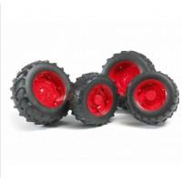 Шины для системы сдвоенных колёс с красными дисками 4шт. Bruder 02-322...