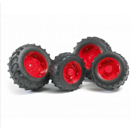 Шины для системы сдвоенных колёс с красными дисками 4шт. Bruder (Брудер) (Арт. 02-322 02322) (Аксессуары A)