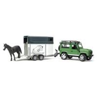 Внедорожник Land Rover Defender с прицепом-коневозкой и лошадью Bruder 02-592...