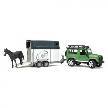 Внедорожник Land Rover Defender с прицепом-коневозкой и лошадью Bruder (Брудер) (Арт. 02-592 02592)