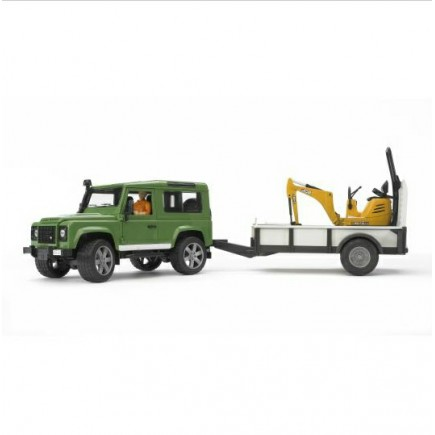Внедорожник Land Rover Defender c прицепом и экскаватором 8010 CTS Bruder (Брудер) (Арт. 02-593 02593)