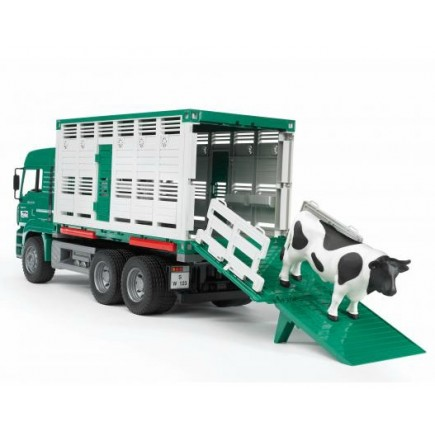 Фургон MAN для перевозки животных с коровой (подходит модуль со звуком и светом) Bruder (Брудер) (Арт. 02-749 02749)