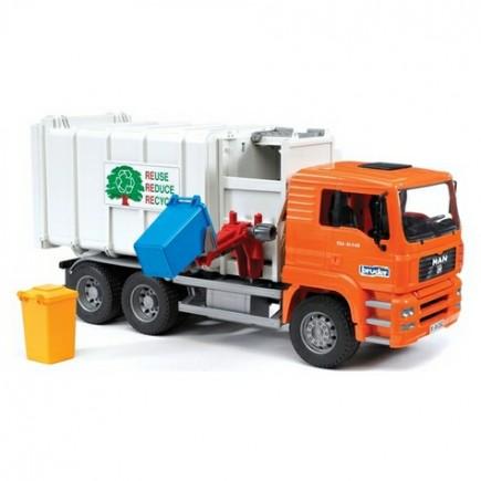 Мусоровоз MAN (цвет кузова серый, кабина – оранжевый) Bruder (Брудер) (Арт.: 02-761 02761)