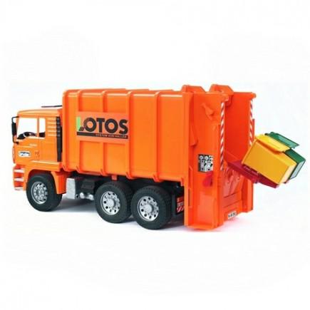 Мусоровоз MAN (цвет оранжевый) (подходит модуль со звуком и светом Bruder (Брудер) (Арт. 02-762 02762)
