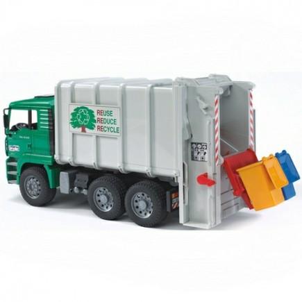 Мусоровоз MAN (цвет кузова белый, кабины – зеленый) (подходит модуль со звуком и светом Bruder (Брудер) (Арт. 02-764 02764)