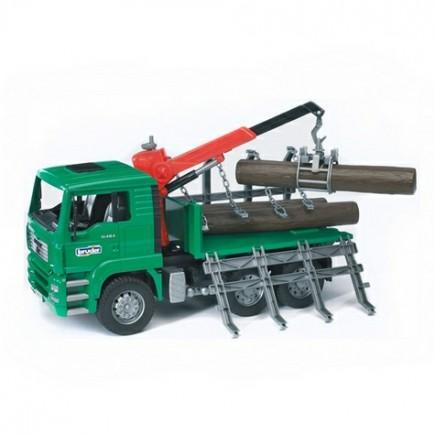 Лесовоз MAN с портативным краном и брёвнами (подходит модуль со звуком и светом Bruder (Брудер) (Арт. 02-769 02769)
