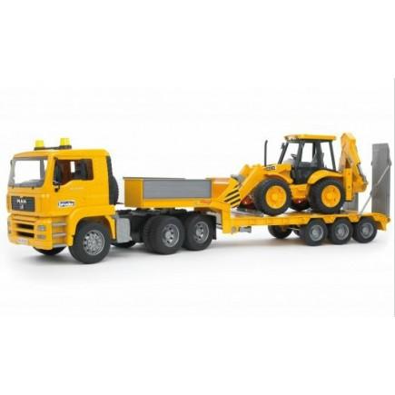 Тягач с прицепом–платформой MAN с колёсным экскаватором–погрузчиком JCB 4CX Bruder (Брудер) (Арт. 02-776 02776)