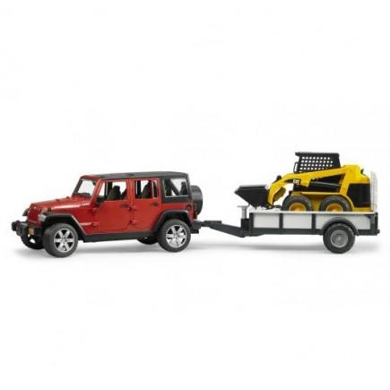Внедорожник Jeep Wrangler Unlimited Rubicon c прицепом-платформой и мини погрузчиком CAT Bruder (брудер) 02-925