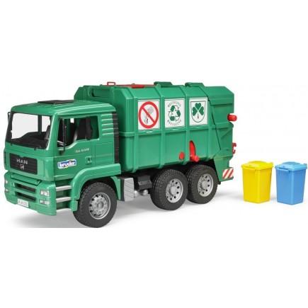 Мусоровоз Bruder Man Tga Зеленый и набор мусорных баков 02-753 + 02-607