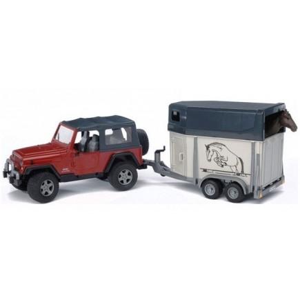 Внедорожник Jeep Wrangler Unlimited Rubicon c прицепом-коневозкой и лошадью Bruder 02-926