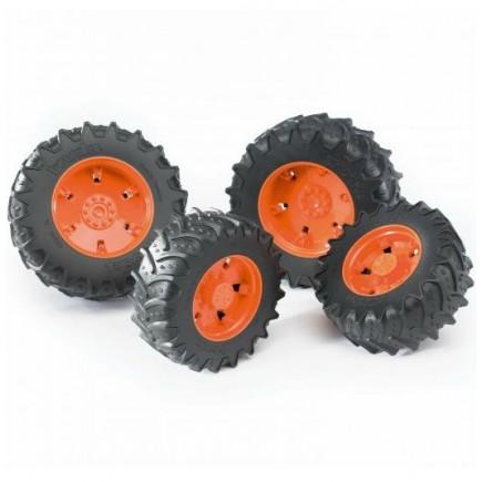 Шины для системы сдвоенных колёс с оранжевыми дисками 4шт. Bruder (Брудер) (Арт. 03-302 03302) (Аксессуары K)