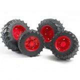 Шины для системы сдвоенных колёс с красными дисками 4шт. Bruder 03-303...