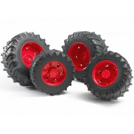 Шины для системы сдвоенных колёс с красными дисками 4шт. Bruder (Брудер) (Арт. 03-303 03303) (Аксессуары K)