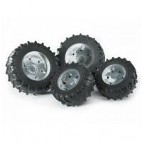 Шины для системы сдвоенных колёс с серебристыми дисками 4шт. Bruder 03-307...