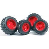 Шины для системы сдвоенных колёс с красными дисками 4шт. Bruder (Арт. 03-313)...