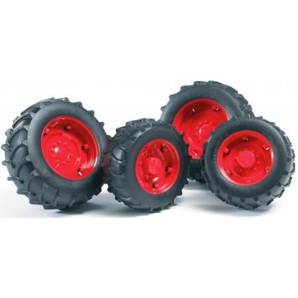 Шины для системы сдвоенных колёс с красными дисками 4шт. Bruder (Арт. 03-313)