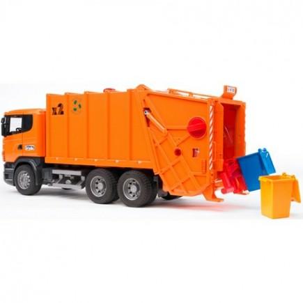 Мусоровоз Scania (цвет оранжевый) (подходит модуль со звуком и светом Bruder (Брудер) (Арт. 03-560 03560)