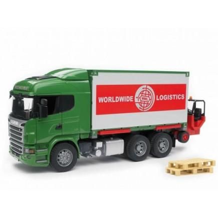 Фургон Scania с погрузчиком и паллетами (подходит модуль со звуком и светом Bruder (Брудер) (Арт. 03-580 03580)