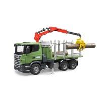 Лесовоз Scania с портативным краном и брёвнами Bruder 03-524...