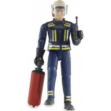 Фигурка пожарного 107мм с огнетушителем и рацией Bruder (Брудер) (Арт. 60-100 60100)