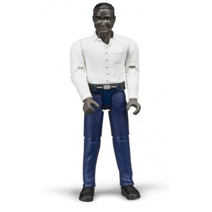 Фигурка мужчины африканец в синих джинсах Bruder 60-004