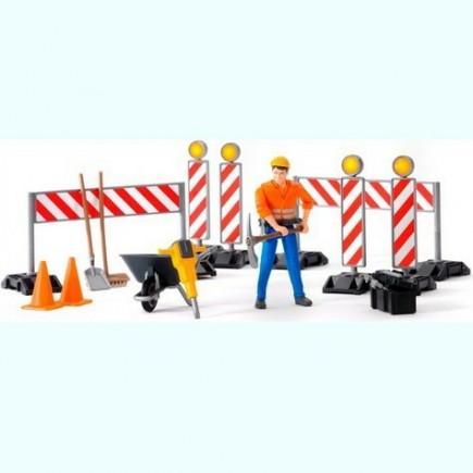 Набор знаков дорожных работ с фигуркой рабочего Bruder (Брудер) (Арт. 62-000 62000)