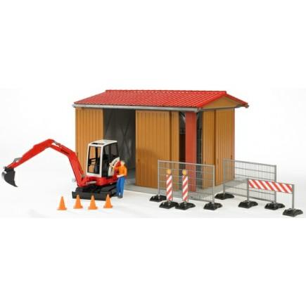 Гараж для транспорта с гусеничным мини экскаватором Schaeff HR16, фигуркой и аксессуарами (разм. 48*36*31см) Bruder (Брудер) (Арт. 62-020 62020)