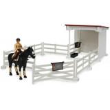 Набор всадницы с загоном и стойлом, лошадью и всадницей с аксессуарами (Арт. 62-...