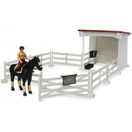 Набор всадницы с загоном и стойлом, лошадью и всадницей с аксессуарами (Арт. 62-521)