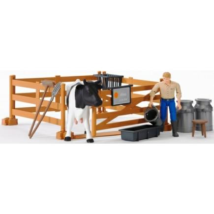 Набор фермера с загоном, коровой и рабочим с аксессуарами Bruder (Брудер) (Арт. 62-600 62600) (Аксессуары K)