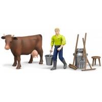 Ферма Bruder с коровой, рабочим и аксессуарами 62-605...